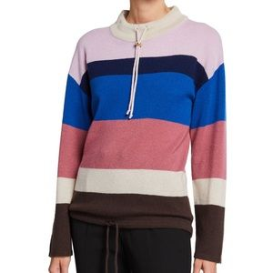 NWT Theory Cashmere Striped Drawstring Sweater M